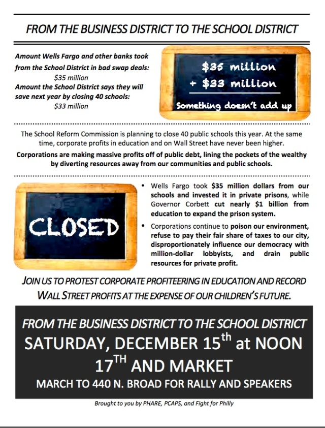 Rally Today at Noon - Stop Profiteerng at the Expense of Our Schools