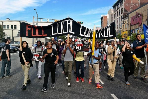 Newark students on the march.