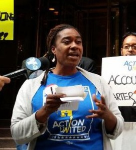 Kia Hinton, speaking earlier this year at an action demanding more regulation of charters